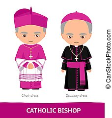 chœur, dresses., catholique, ordinaire, bishop.