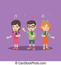 chœur, microphones., chant, enfants, chanson