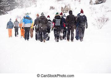chůze, národ, mládě, krajina, zima, skrz, překrásný, skupina
