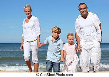 chůze, rodina, mládě, po, pláž, písečný