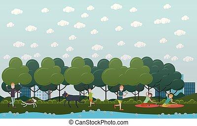chůze, s, pes, od park, vektor, byt, ilustrace