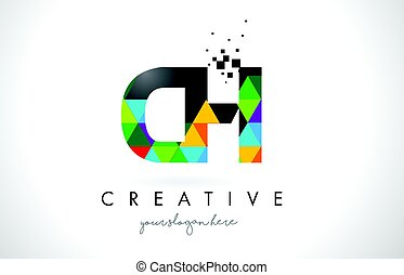 CH C H Letter Logo with Colorful Triangles Texture Design Vector.