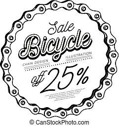 chaîne bicyclette, formulaire, vente, escompte, 3d, circle., design.