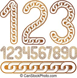 chaîne, business, créé, collection, vecteur, connecté, nombres, numeration., branché, utilisation, link.
