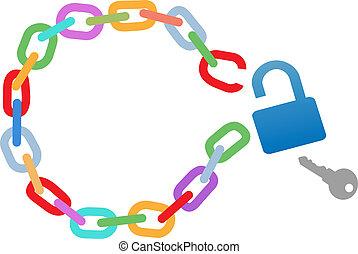 chaîne, cassé, ouvrir, breakout, évasion, cercle