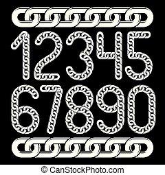 chaîne, créé, chrome, collection, linkage., vecteur, nombres, numeration., branché, utilisation