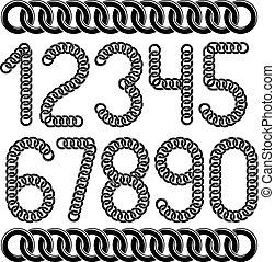 chaîne, créé, collection, vecteur, connecté, nombres, numeration., branché, utilisation, lien