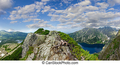 chaîne de montagnes, vallée, lacs, panorama
