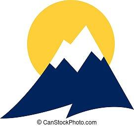 chaîne de montagnes, vecteur, icône