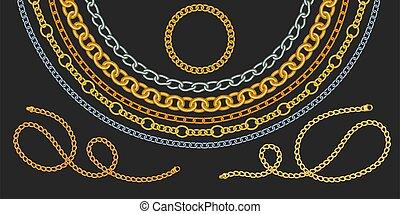 chaîne, doré, ensemble