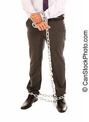 chaîne, esclave, fettered, isolé, symbole, métier, fond,...