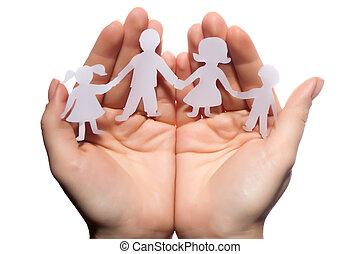 chaîne, famille, papier, a entouré, protégé, fond, mains,...