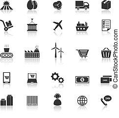 chaîne, fourniture, icônes, refléter, fond, blanc