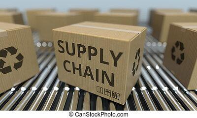 chaîne, fourniture, texte, conveyor., mouvement, rendre, boîtes, carton, rouleau, 3d