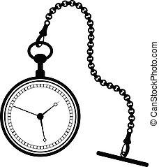 chaîne, montre, isolé, poche, arrière-plan., blanc