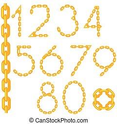 chaîne or, isolé, collection, nombre