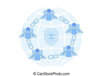 chaîne, point, signe, technologie, design., bleu, style, fil, réseau, concept., blockchain, internet, plat, illustration affaires, lien, icône, hyperlink, connexion, vecteur, connecté, sécurité, futuriste