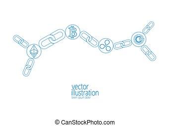 chaîne, résumé, global, cryptocurrency, ondulation, bleu, information, gcc, bitcoin, ethereum, sécurité, numérique, international, exploitation minière, toile, grand, internet, connection., illustration, monnaie, données, paiement, technology., vecteur