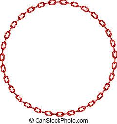 chaîne, rouges, cercle, forme
