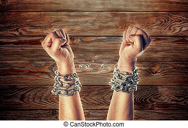 chaînes, deux mains