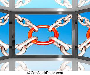 chaînes, jointure, sur, écran, spectacles, unité