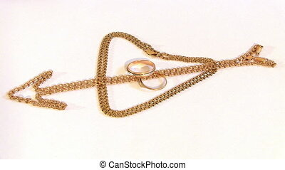chaînes, tourner, anneaux, or, mariage