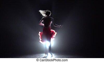 cha-cha-cha., ruch, kobieta, powoli taniec