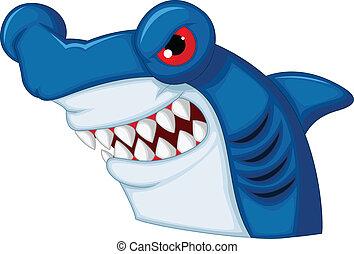 cha, hammerhead, mascote, tubarão, caricatura