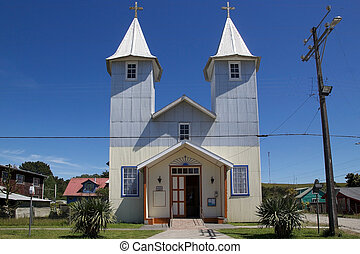chacao, île, chiloe, village, chili, église