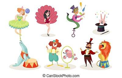 chacartes, set, esecutori, mostra, vettore, circo, cartone animato, illustrazioni