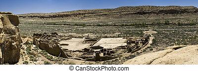 Panorama of Ancient Ruins at Chaco Canyon, New Mexico