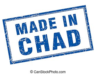 Chad blue square grunge made in stamp