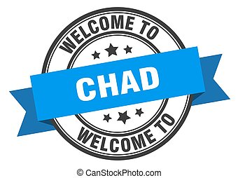 Chad stamp. welcome to Chad blue sign