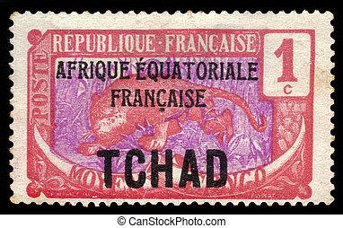 Leopard (Panthera pardus) - Chad - CIRCA 1922: A stamp ...