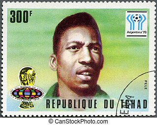 CHAD - CIRCA 1977: A stamp printed in Chad shows World Cup...