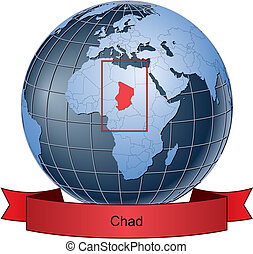 Chad, position on the globe Vector version with separate...