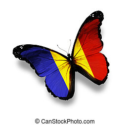 Chad flag butterfly, isolated on white