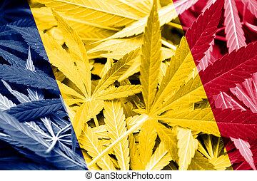 Chad Flag on cannabis background. Drug policy. Legalization ...