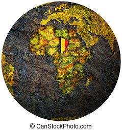 chad flag on globe map