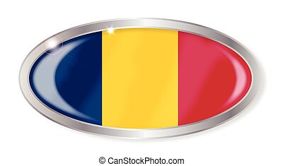 Chad Flag Oval Button
