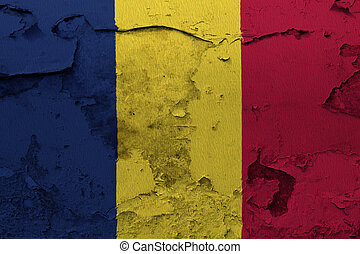 Chad flag painted on the cracked grunge concrete wall