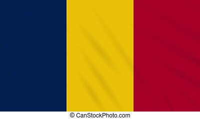 Chad flag waving cloth, ideal for background, loop