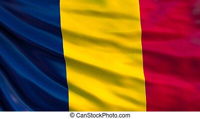 Chad flag. Waving flag of Chad 3d illustration