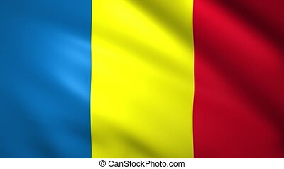Chad flag waving in the wind