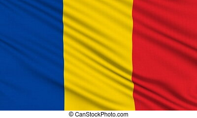 Chad Flag, with real structure of a fabric