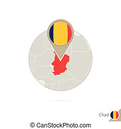 Chad map and flag in circle. Map of Chad, Chad flag pin. Map...