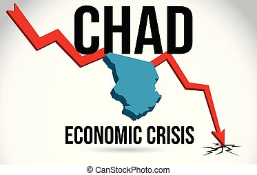 Chad Map Financial Crisis Economic Collapse Market Crash Global Meltdown Vector.