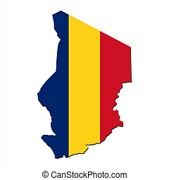Chad map flag - map of Chad and their flag illustration