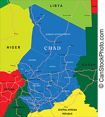 Highly detailed vector map of Chad with administrative regions, main cities and roads.
