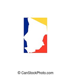 chad map icon logo vector symbol